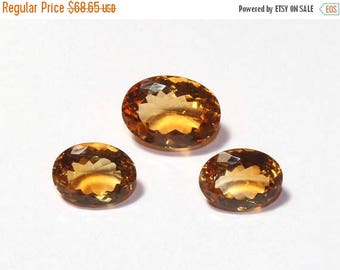 55% OFF SALE 3 Pcs Set AAA Natural Citrine Faceted Oval Cut Gemstones 12x9 - 14x10mm Match Pair & a Focal Pendant- Citrine Trio Ct13