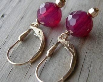 Raspberry Quartz Gold Fill Earrings