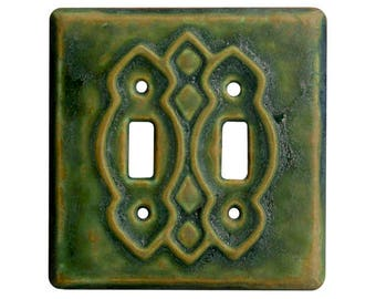 Ceramic Light Switch Cover- Moroccan Double Toggle in Green ocher Glaze