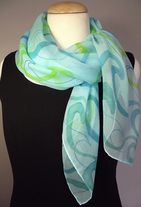 "Hand Painted Silk Chiffon Scarf 36 x36"", Turquoise with Blue, Lime and Teal Waves Pattern"