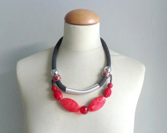 Red gold statement necklace rope necklace