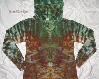 Tie dye, Medium woman's french terry hoodie, earth tones, tiedye by grateful dan, ice dye, inkblot ice dye, rorschach inkblot test