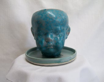 Aqua Porcelain Ceramic Doll Head  Planter