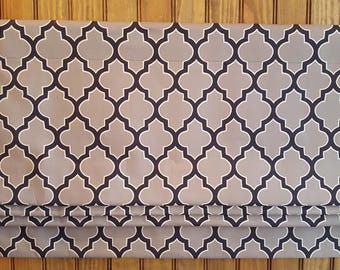 """Navy and Grey Faux Roman Shade Valance - 50"""" x 16"""" - Cloud and Navy Hand Drawn Quatrefoil Fabric"""