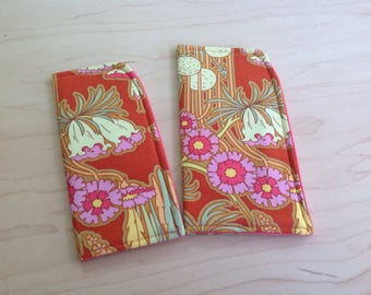 Art Deco Floral Flame Orange Sunglass Case or Eyeglass Case Slide in Pouch Choose Your Size
