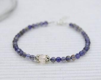 Iolite & crystal bracelet