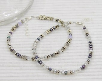Freshwater pearl, sterling silver & quartz bracelet