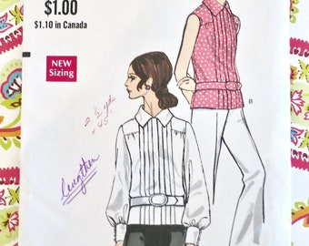 Vintage 1960s Womens Blouse Pattern - Vogue 7491 - Front Tuck