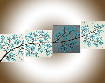 """Turquoise beige grey wall art home decor wall decor Acrylic Impasto Palette Knife canvas art """"Beautiful Spring"""" by qiqigallery"""