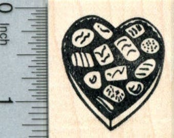 Valentines Day Rubber Stamp, Candy Heart D31701 Wood Mounted
