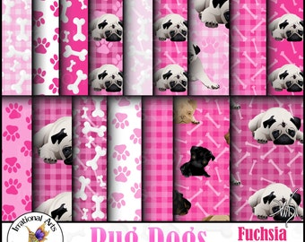 Pug Fuchsia Set 1 - 16 digital scrapbooking papers - Pug dogs bones paws hot pink  {Instant Download}