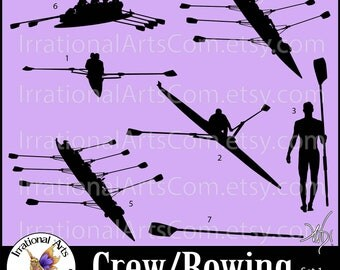 Crew and Rowing set 1 Silhouettes - Vinyl Ready Images digital clipart graphics - 3 EPS, 3 SVG & 3 PNG and Scl (Instant Download)