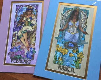 13x19 Matted READY TO FRAME Art Prints Lady of February and March Art Nouveau Birthstone Mucha Inspired Birth Flowers Series