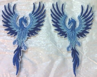"""2 Small ICE Phoenix in Flight Embroidered Iron on Applique - Patch - Mirror Imaged - 4"""" x 2.25"""" each FREE U.S. Shipping"""