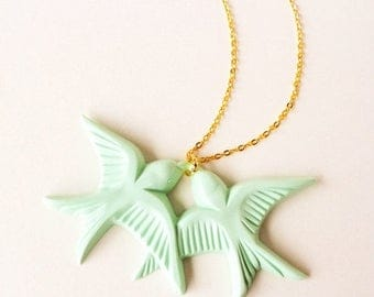 Clearance Sale Mint green vintage plastic swallow love birds gold necklace