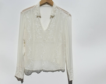 Vintage Ivory silk Sheer Embroidery Beaded Top