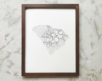 South Carolina> Yellow Jessamine> State Flower Drawing> Giclee Print