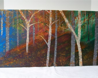 "Autumn Burch, Original Acrylic Painting Wall Art Gallery Wrap  24"" by 12"""