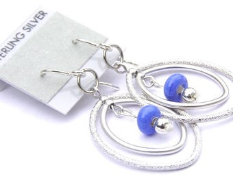 Periwinkle Earrings - Minimalist Sterling Silver Earrings - Open Hoop Earrings - Blue Bead Earrings - Open Circle Earrings - Dangle Earrings
