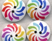 CLEARANCE SALE Rainbow Pinwheel Buttons Decorated Funky Wooden Buttons 18mm (13/4 inch) Set of 8 /BT200C
