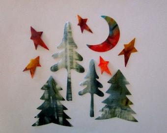 10 Woodland Large Set Iron On Appliques Trees Moon Stars