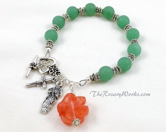 Undoer of Knots Rosary Bracelet Light Green Matte Adventurine Carved Cherry Quartz Rose of Sharon Chaplet Single Decade Miraculous Medal