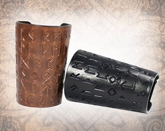 Leather Bracers - Nordic Runes Bracers, Adjustable Leather Cuff, Black Bracers, Black Leather Cuff - Custom to You (1 cuff only)