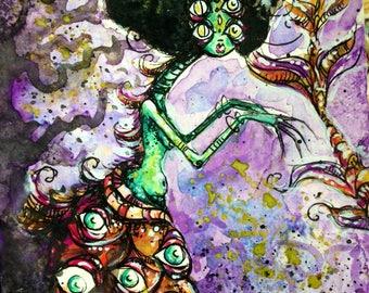 Space Tropics Mermaid original watercolor painting