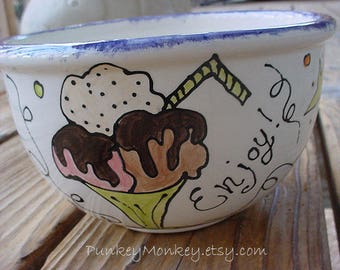 BIG one Gallon personalized Custom ice cream bowl ceramic pottery cereal popcorn bowl salsa salad soup kids teen adult gift his hers