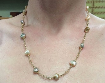 On Sale Baroque Pearl Choker Set in 14 Ct Gold Fill 18 ins.