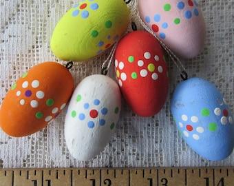 Vintage Western Germany 6 Wooden Wood Easter Eggs Handpainted Old Store Stock