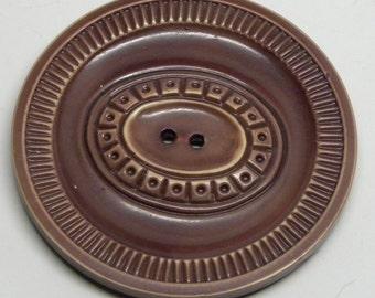"""Rare XL Carved Buffed CELLULOID BUTTON Cafe Au Lait Mocha Brown Art Deco 1 7/8 """"  49 mm Mint!"""