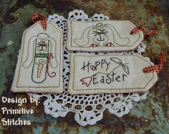 Hoppy Easter Tag Collection-Primitive Stitchery-E-PATTERN by Primitive Stitches-Instant Download
