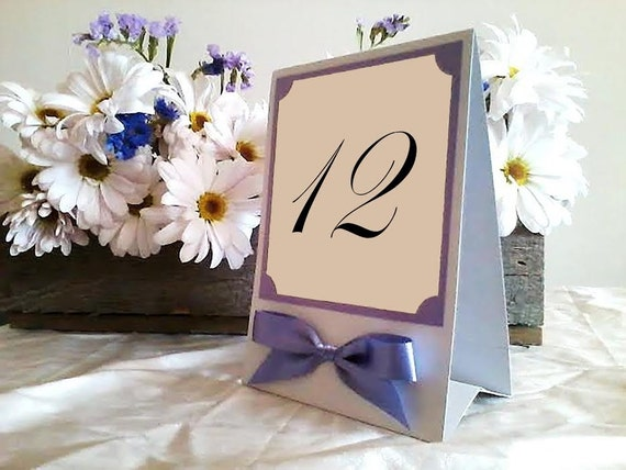 Table Sign in Custom Colors, Numbers, Fonts with Ribbon Bow, Tent or Easel Back, Medium or Large for Wedding Reception - Bistro Collection