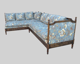 FRENCH COUNTRY dark walnut carved sectional sofa