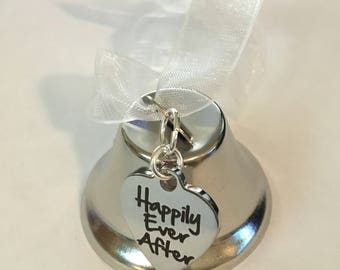 "Wedding Bell, ""Happily Ever After"" Heart Charm, Bell Ornament, Wedding Party Favor,  Reception Table Decor, Bridal Shower Gift"