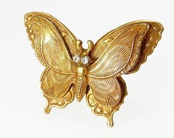 Vintage Gold Plated Brass Butterfly Brooch Rhinestone Eyes