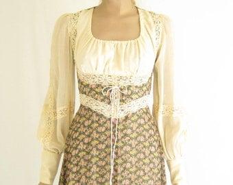 Vintage 70's GUNNE SAX Romantic Boho Maxi Dress. Size X Small