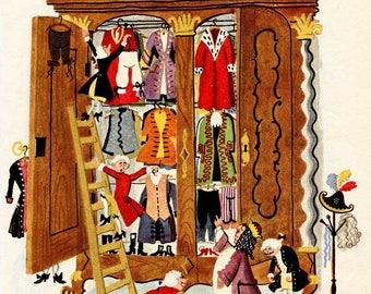 Vintage 1960  The Emperor's New Clothes  by Hans Christian Andersen Child's Story Book Illustration, Print for Framing, Emperor's Closet