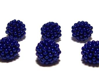 Cobalt Blue beaded beads handmade 10mm beads 6pcs