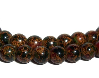 8mm Glass Beads Marble effect beads 55 pcs