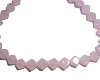 Diamond Shape Milky Pink Glass Beads 40pcs