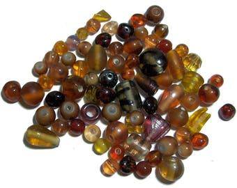 Brown Glass Bead Mix assorted beads 40 grams