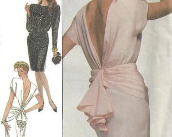 1980s Dress Pattern Vintage Sewing Simplicity Long Short Slim Skirt Back Slit Neck Hip Drape Uncut Women's Misses Size 12 Bust 34 Inches