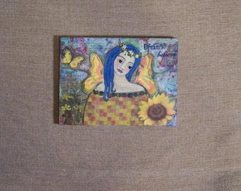 Angel Fairy Painting Original Mixed Media Encaustic Dream Believe FREE SHIPPING