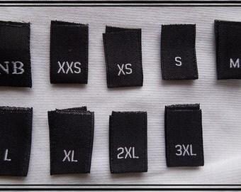 600 pcs Black Woven Damask Clothing Labels, Size Tags - XXS, XS S M L XL 2XL 3XL