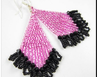 Handmade Beaded Earrings Seed Bead Beadwork in Pink and Black