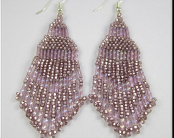 Native American Inspired Beadwork Seed Bead Earrings in Light Purple Fringe
