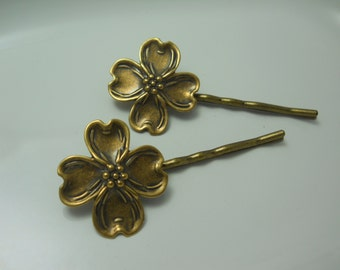 Brass Metal Dogwood Flower Charms Garden Foliage Hair Pins Clips Bobby Pins Gardeners Gift Nature Organic