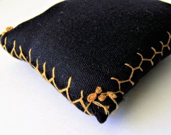 """Primitive Pincushion, Black Wool with Fly Stitch and French Knots Embroidery, 3 1/2"""" x 3"""", found in Vintage Sewing Box"""